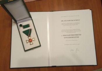 Dr. Sólyomvári Károly a Magyar Érdemrend Lovagkereszt polgári tagozat kitüntetésben részesült